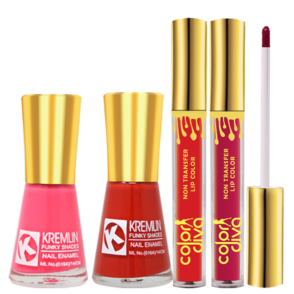 Adbeni Combo - Color Diva Liquid Lipsticks with Kremlin Nail Polsh, Pack of 4, (GC1433)