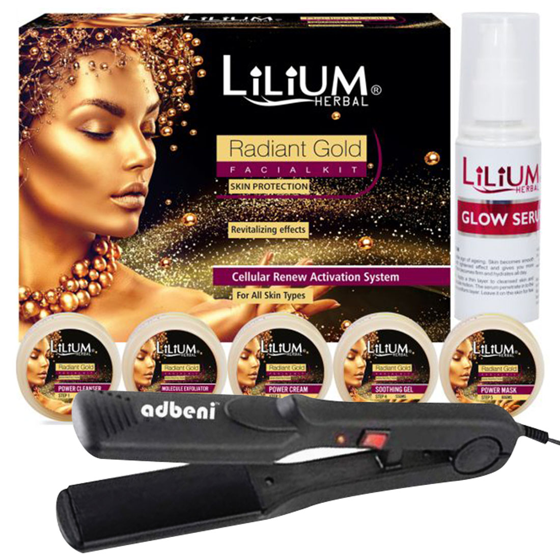Lilium Radiant Gold Facial Kit 350g With Hair Straightener- Pack of 2- (GC851)