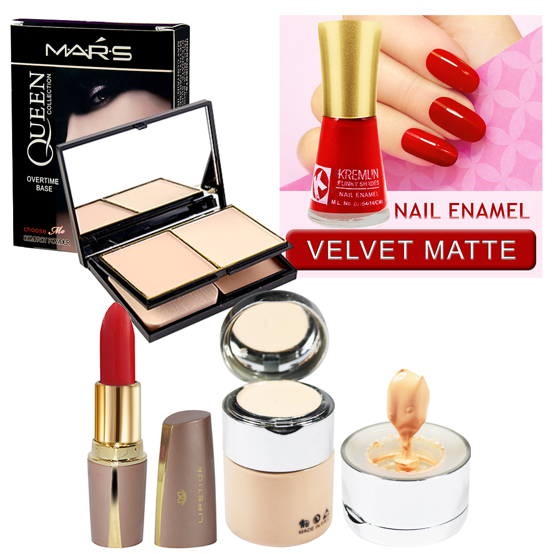 Mars Queen Collection Compact- Foundation With Nail Paint- Lipstick Set of 4 GCI800