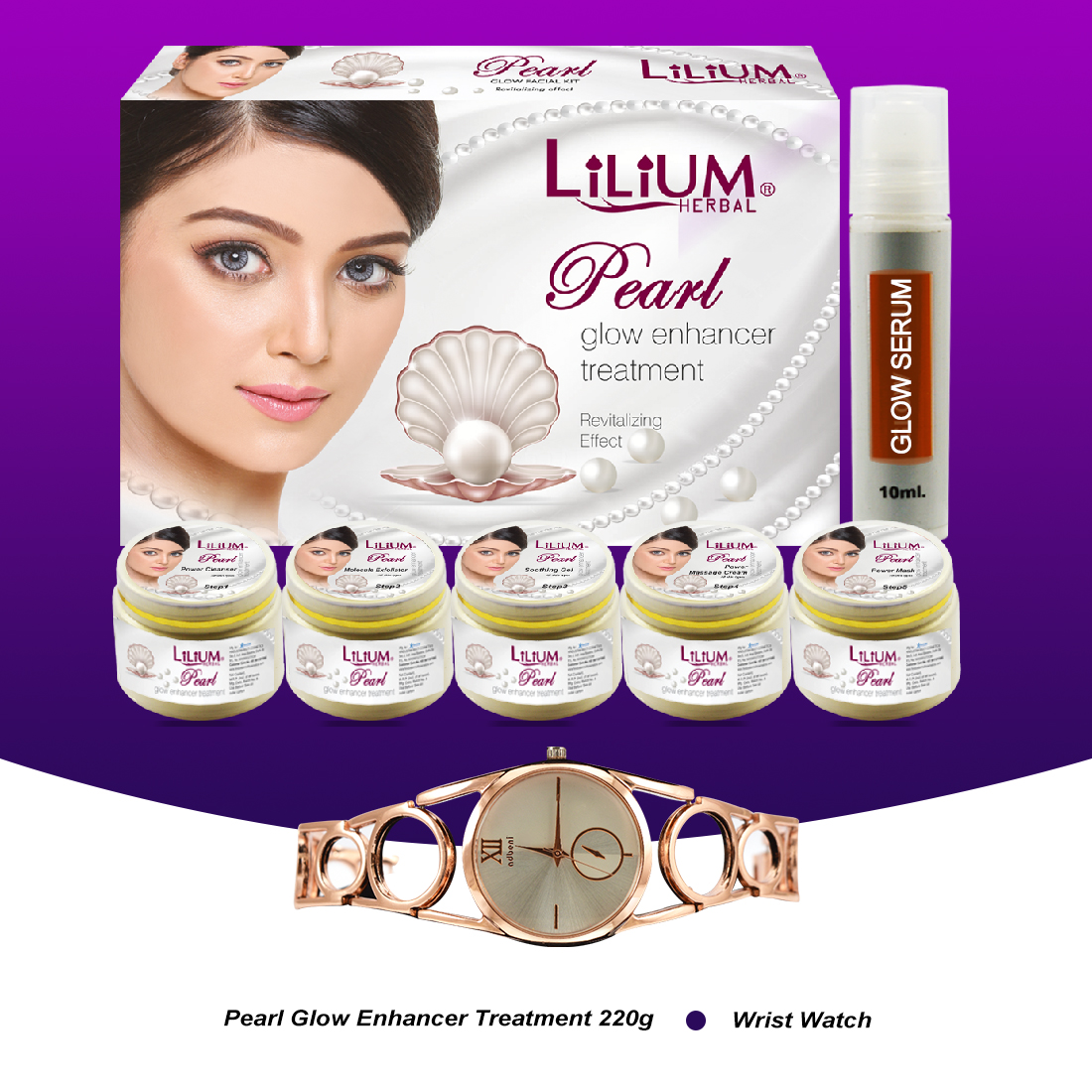 Lilium Pearl Glow Enhancer Treatment Facial Kit 220gm With Wrist Watch Pack of 2
