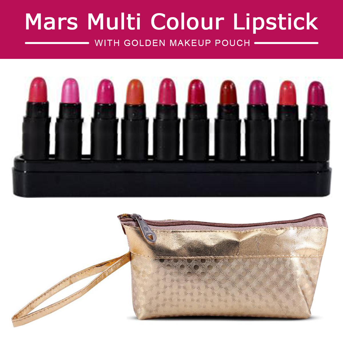 Mars Long Lasting Smooth Finish Lipsticks LS2-B Pack of 10  with Golden Makeup Pouch