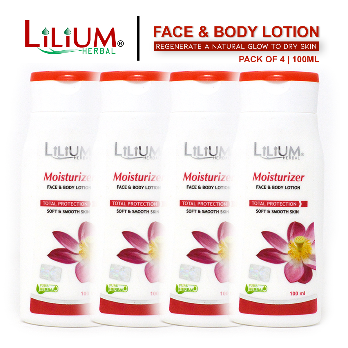 Lilium Herbal Regular Moisturizer Face & Body Lotion 100ml Pack of 4
