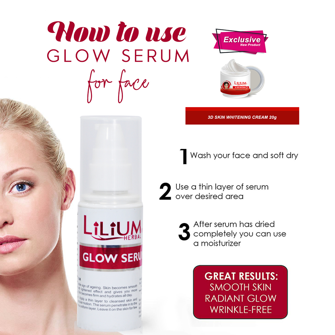 Lilium Herbal Glow Serum 50ml With Skin Whitening Cream20ml