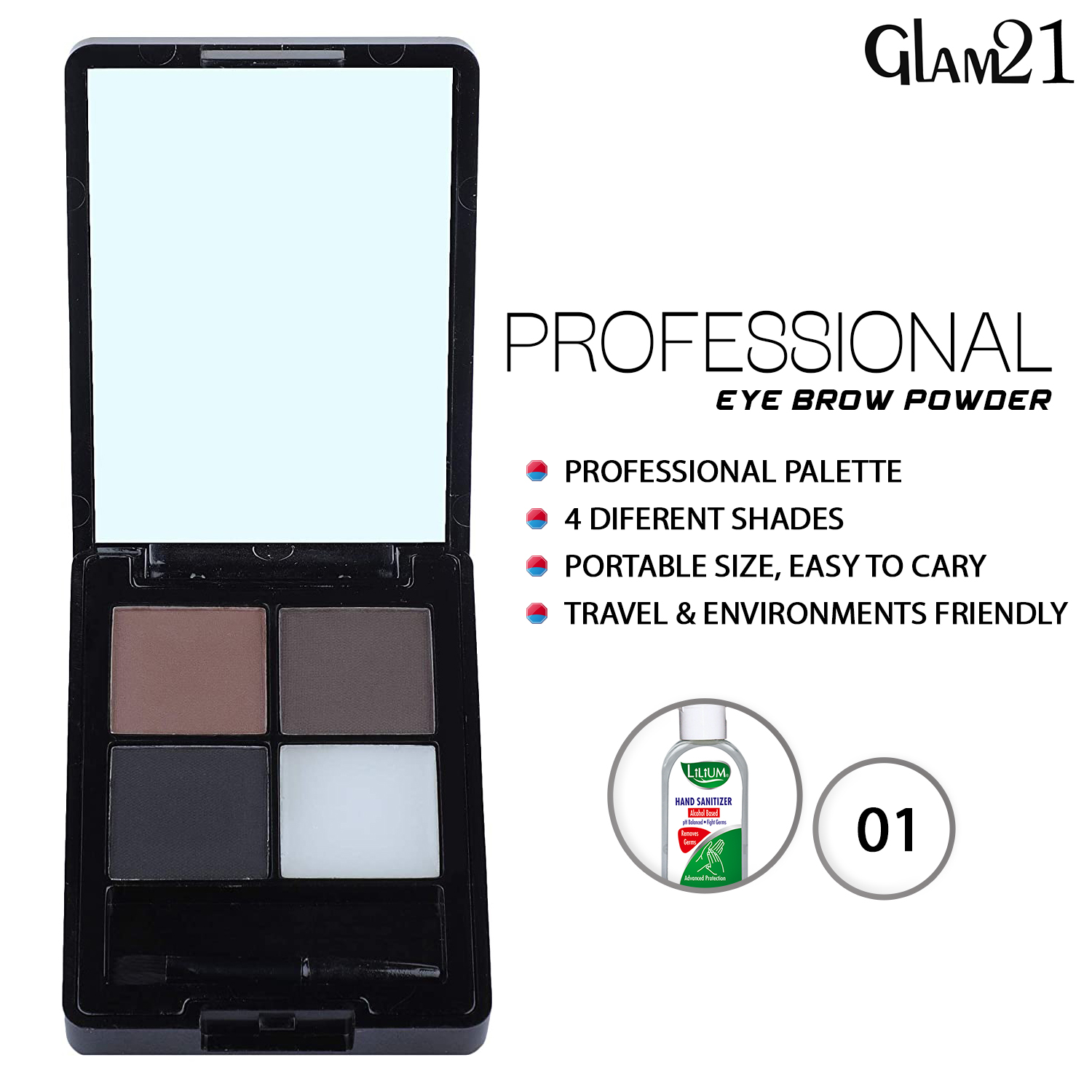 Glam21 Eyebrow Palette, (ES821-01), 9g With Lilium Hand Cleanser