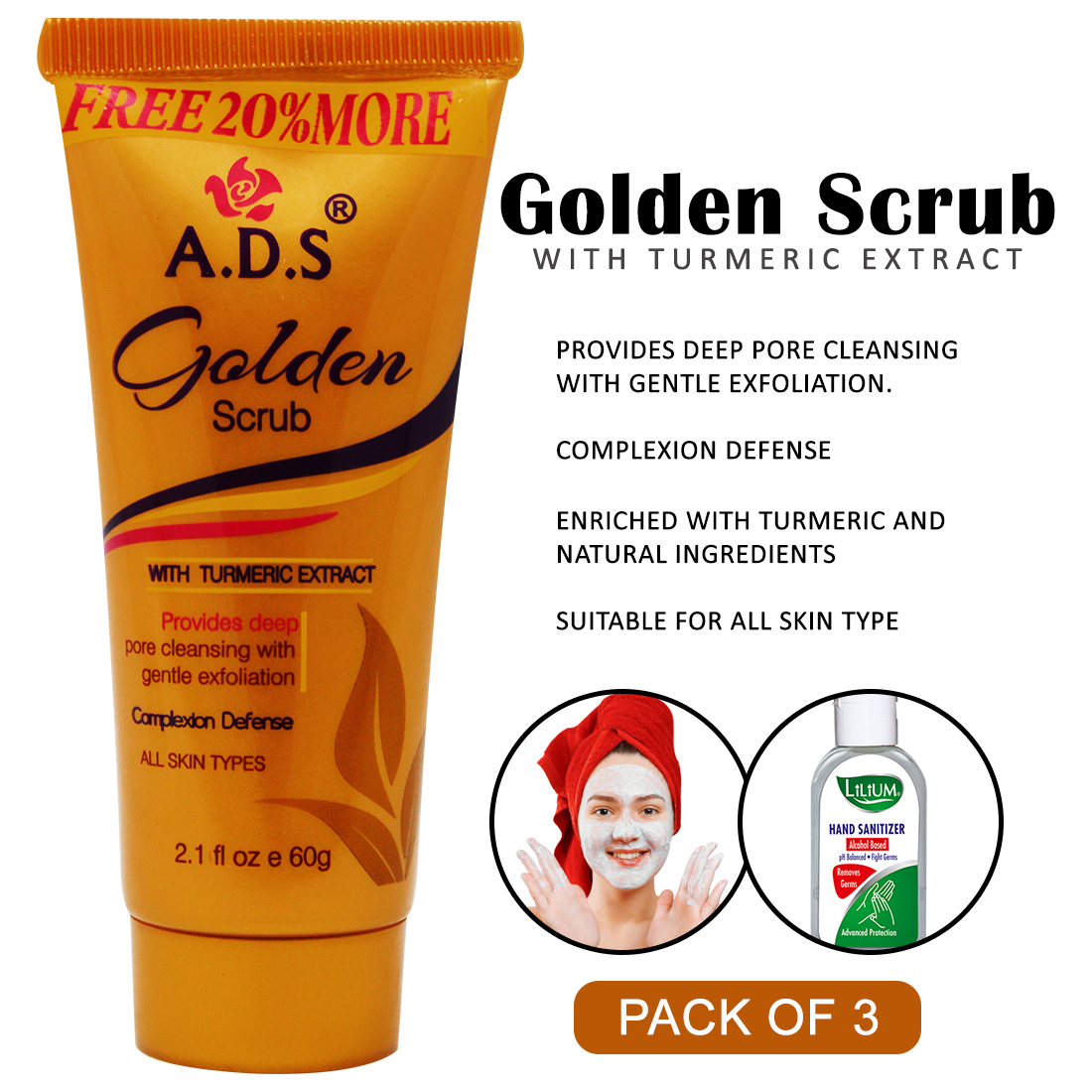 ADS Golden Facial Face Scrub, (A1546), 60g Pack of 3 With Lilium Hand Cleanser