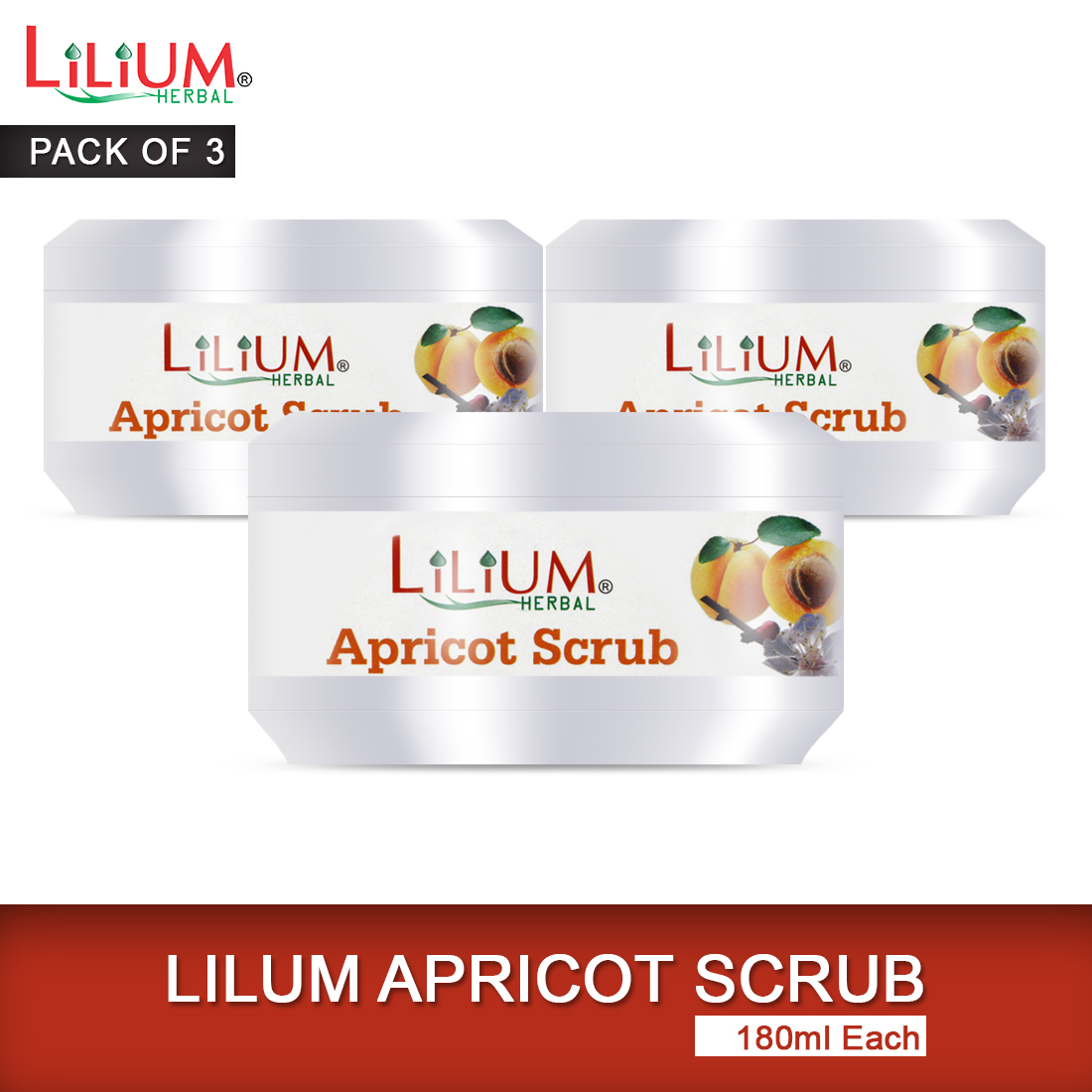 Lilium Apricot Scrub with Apricot Kernel Oil and Almond Oil 180ml Pack of 3