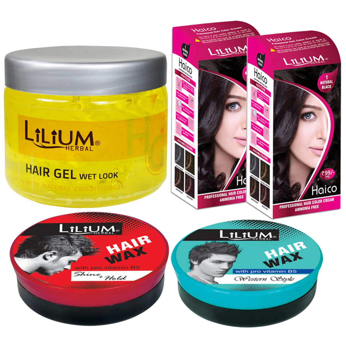 Lilium Wet Look Hair Gel, Hair Wax With Natural Black Hair Color, (GC838) Pack of 5