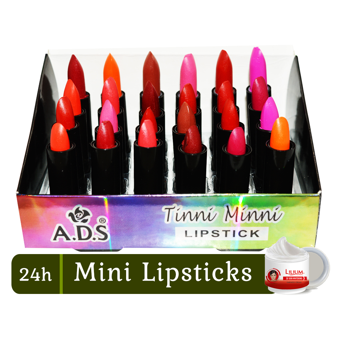 "ADS 24h Tinni Minni With Vitamin """"E"""" Lipstick Pack of 24 With Skin Whitening Cream"