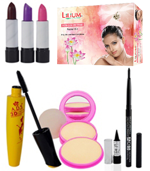 Lilium Instra Glow Facial KitCombo Make Up Set Pack Of 8- GC143