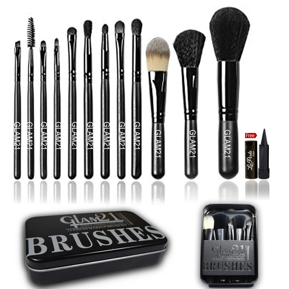 Glam21 Makeup Brush Kit Box 12pc With Free Laperla Kajal