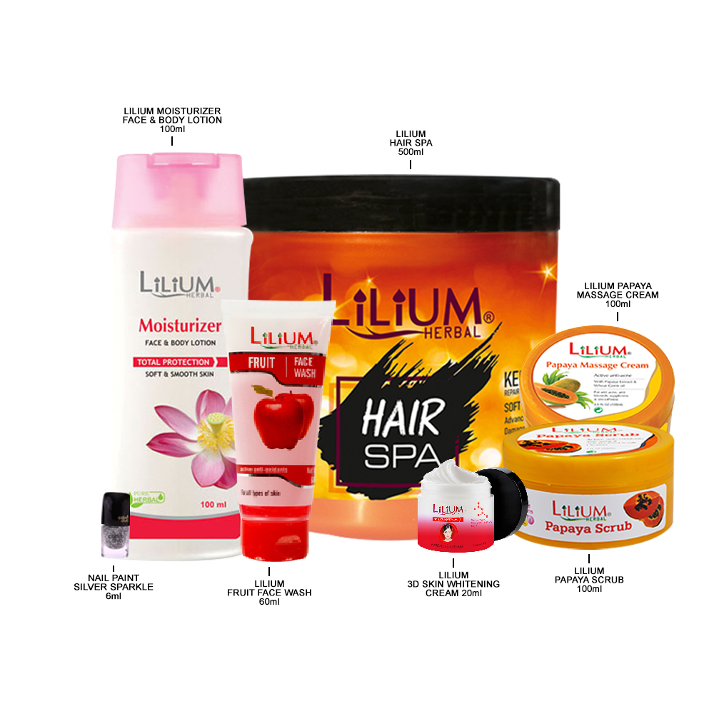 Lilium Herbal Hair SPA Gel, Fruit Face Wash, & Silver Nail Paint With Face Care Product Set of 7-GC645