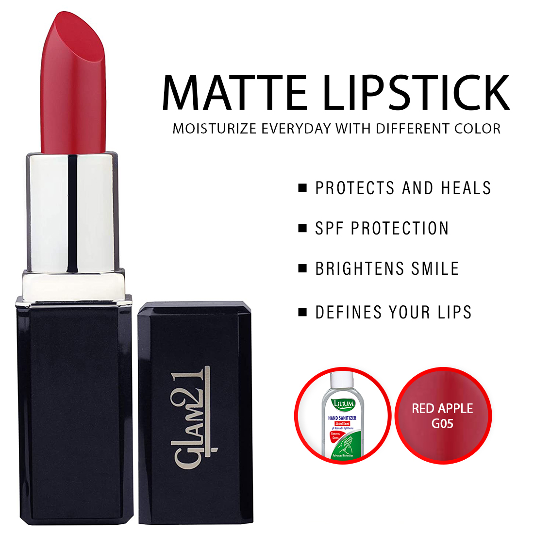 Glam21 Matte Lipstick, Red Apple (LP171-G05) 3.5g, With Lilium Hand Cleanser