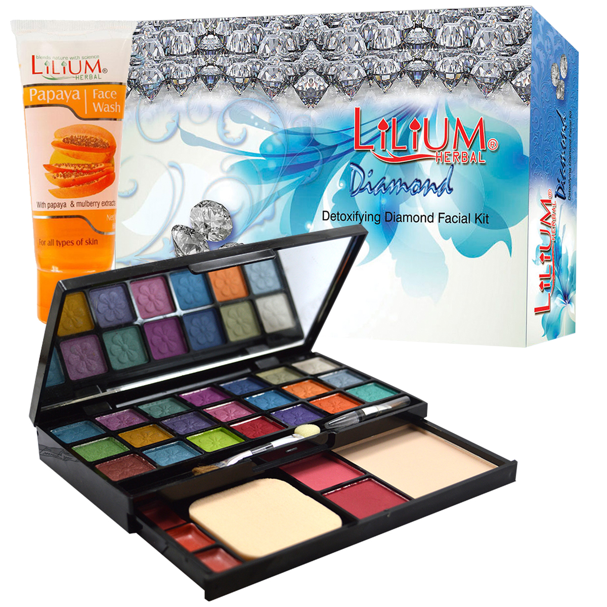 Lilium Diamond Radiance Facial Kit With 21 Different Shades Of Eyeshadow, GCI794