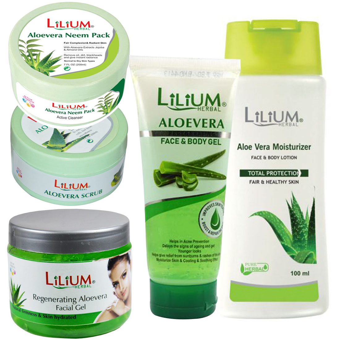 Lilium Aloevera Face Wash, Scrub, Facial Gel, Body Lotion With Facial Pack, (GC849) Pack of 5