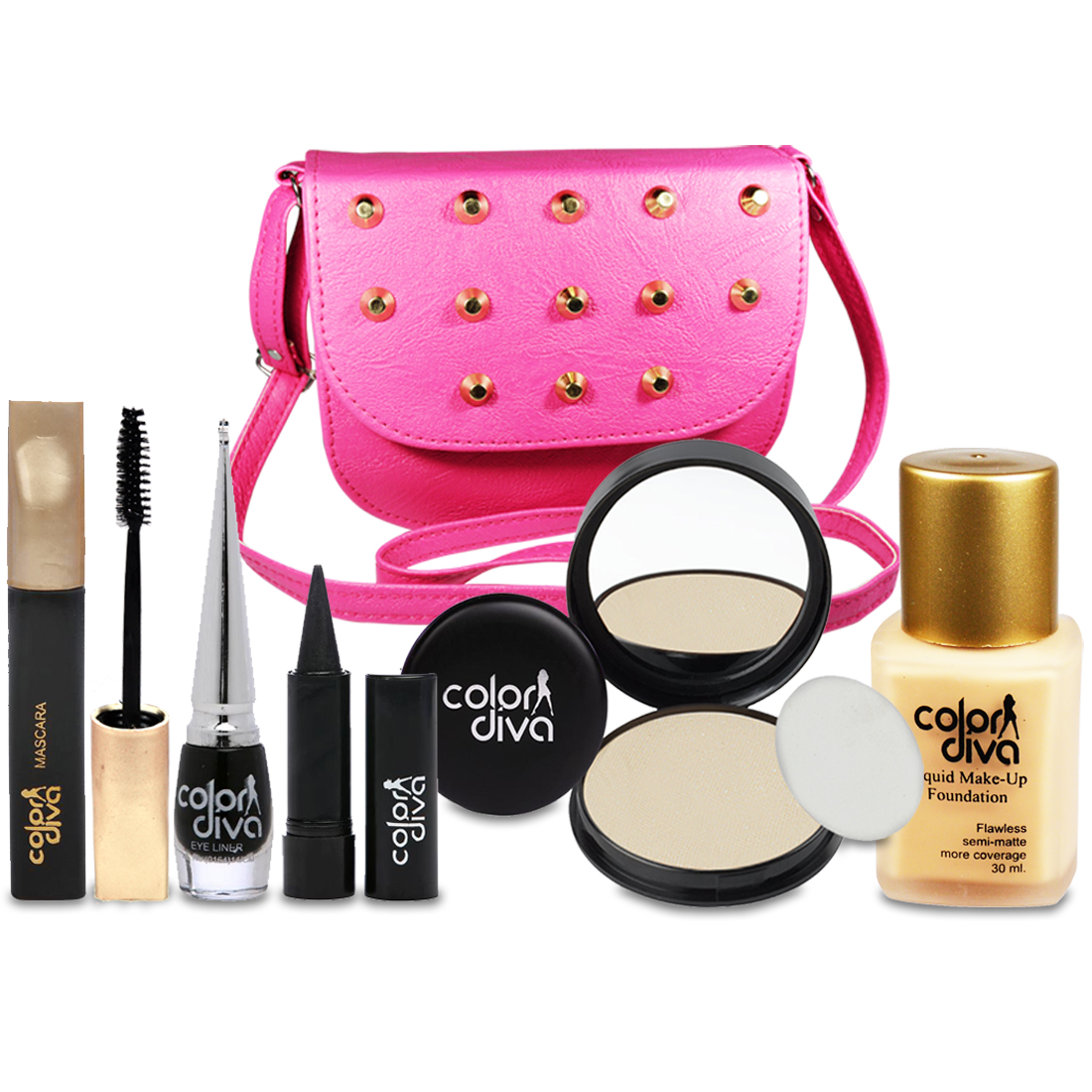 Color Diva Special For Beautiful Girls Makeup Combo Set With Stylish Sling Hand Bag Pack of 6, GC547