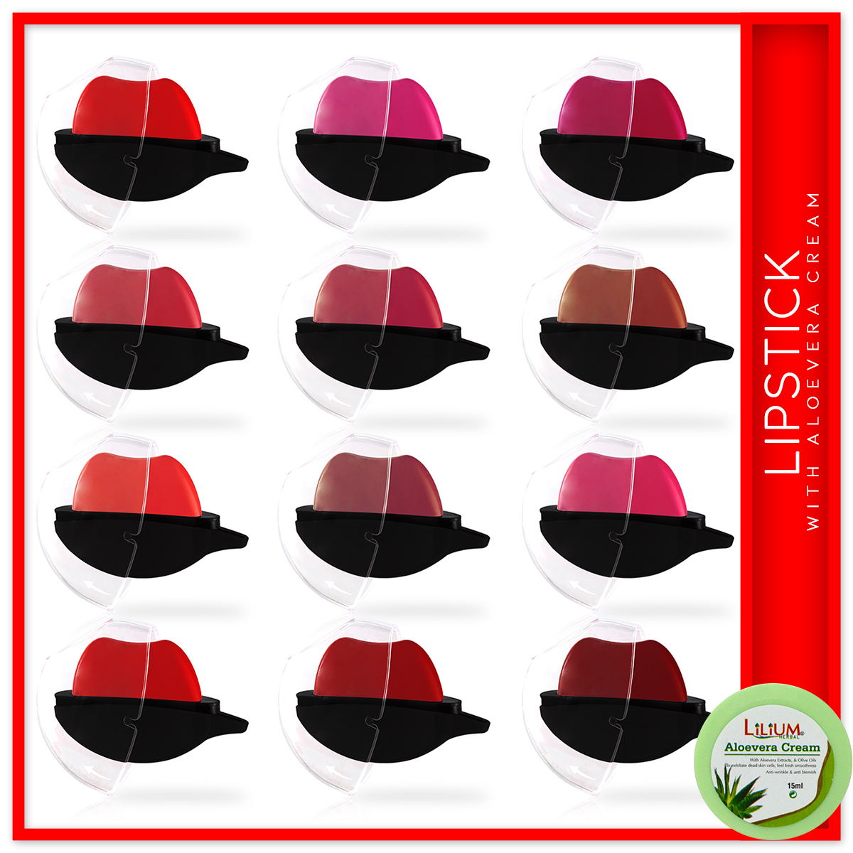 ADS Apple Design Moisturizing Lipstick A01727 Pack of 12 with Lilium Aloevera Cream