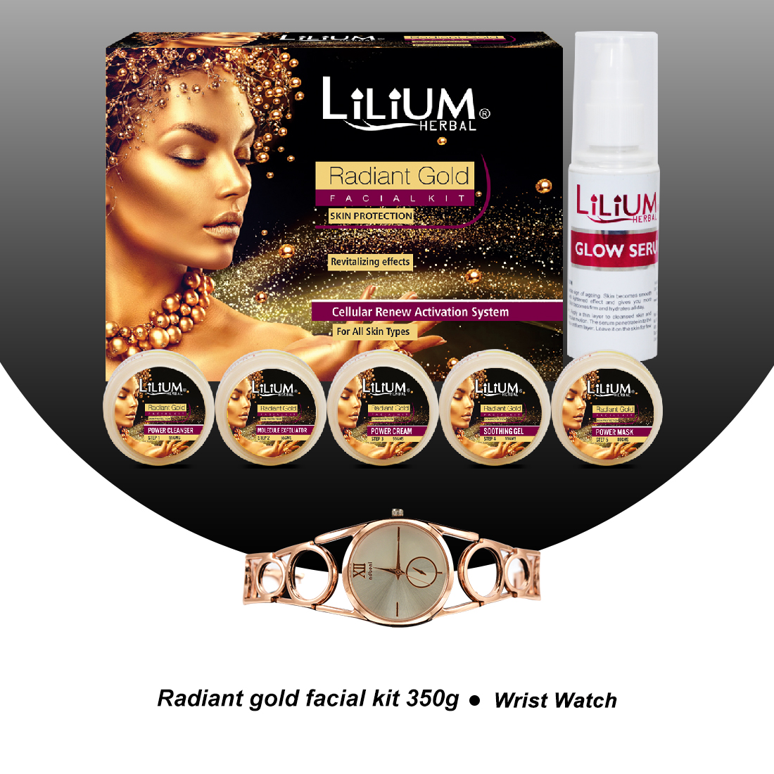 Lilium Radiant Gold Facial Kit350gm With 5in1 Face Massager & Wrist Watch Pack of 3