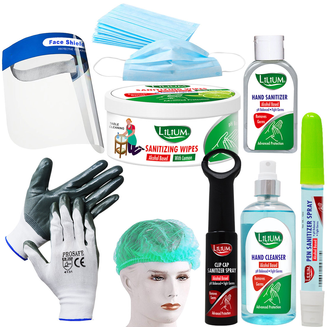 Lilium Complete Safety Hygiene Combo Including Mask & Cleanser, GC1271, Pack of 17