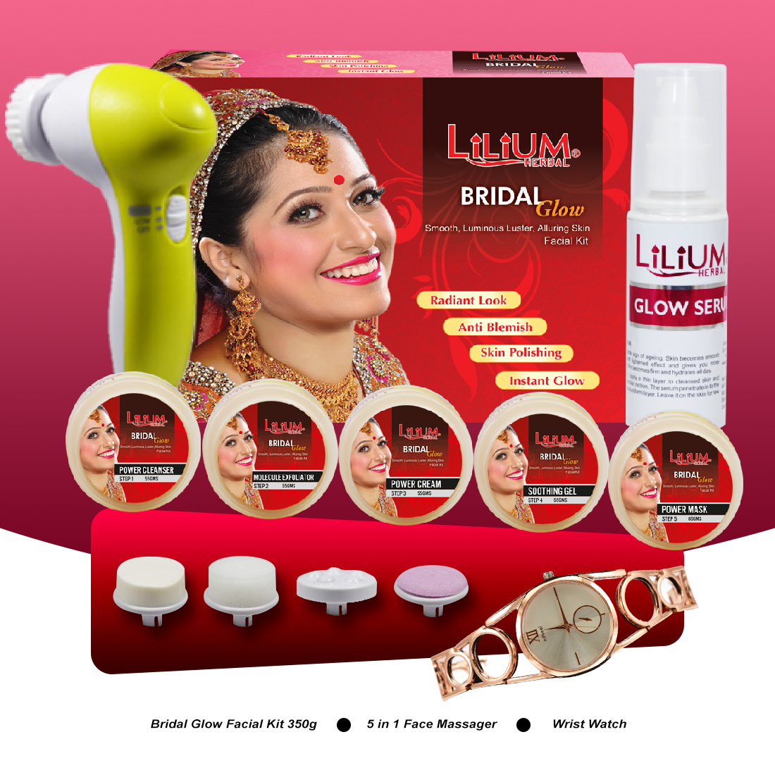 Lilium Bridel Glow Facial Kit 350gm With 5in1 Face Massager & Wrist Watch Pack of 3
