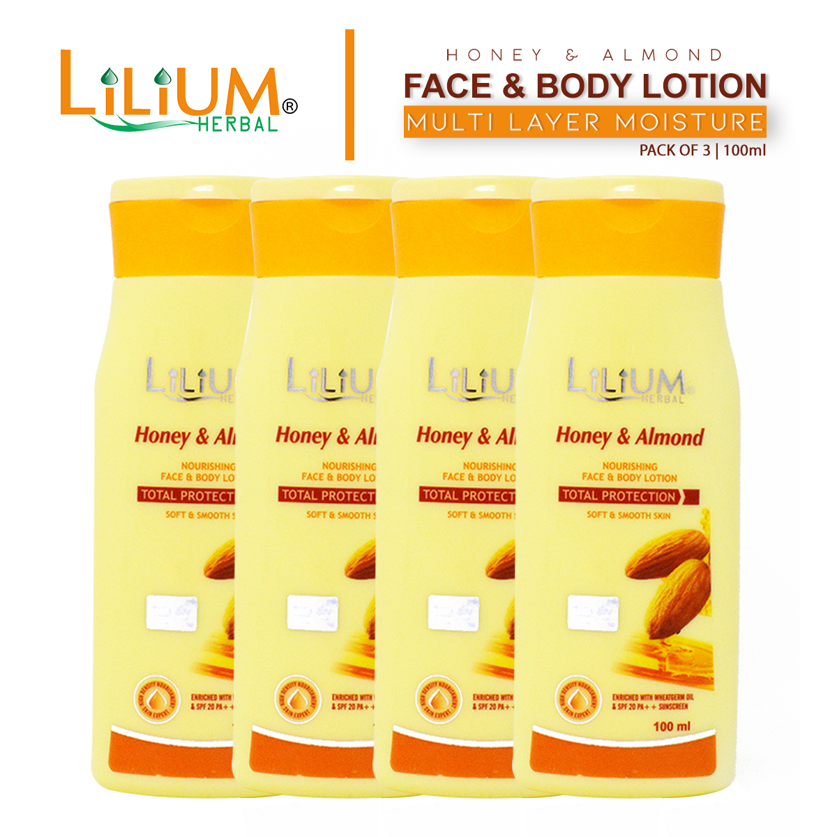Lilium Herbal Honey & Almond Face & Body Lotion 100ml Pack of 4