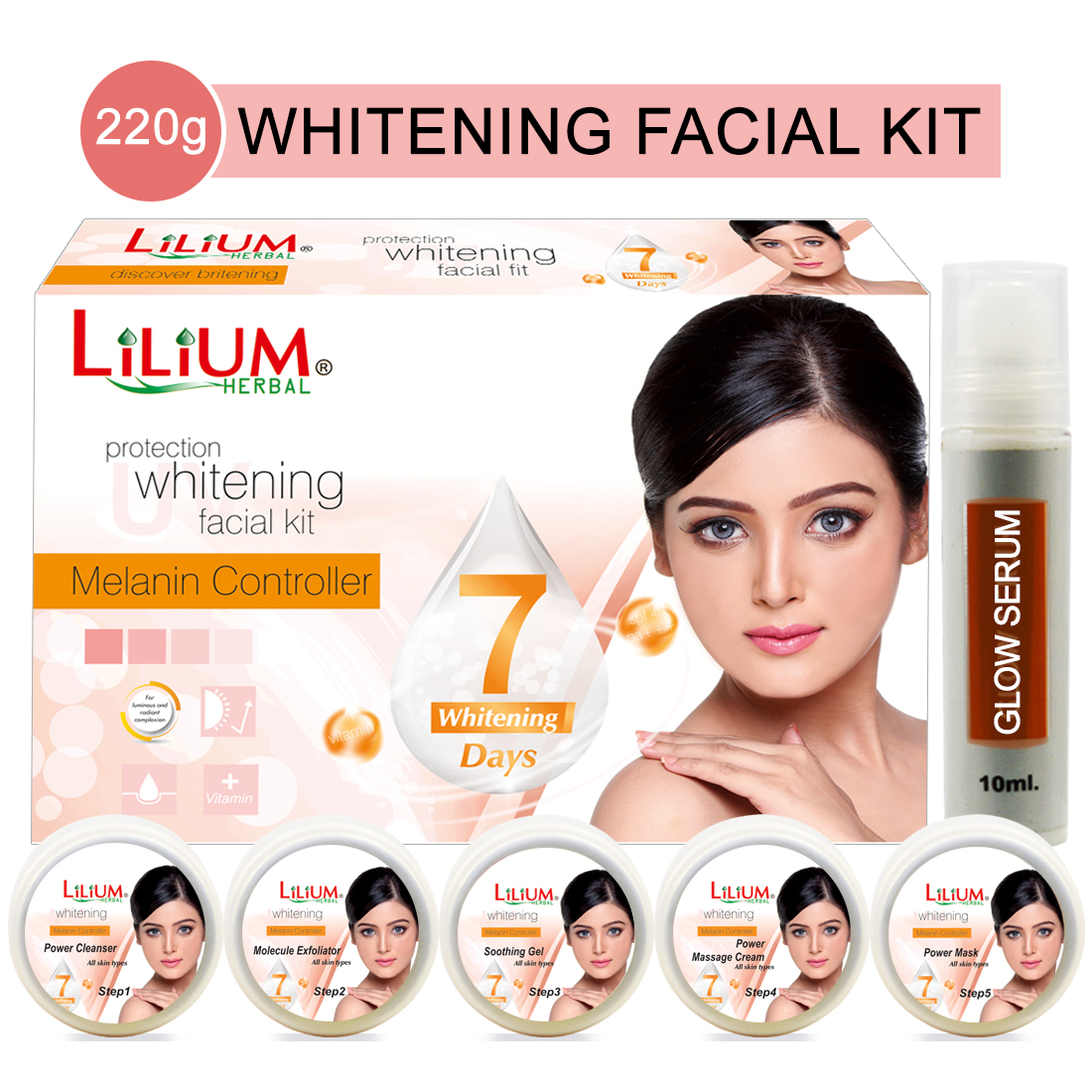 Lilium Protect Whitening Facial Kit 220gm With Skin Whitening & 5in1 Face Massager Pack of 3