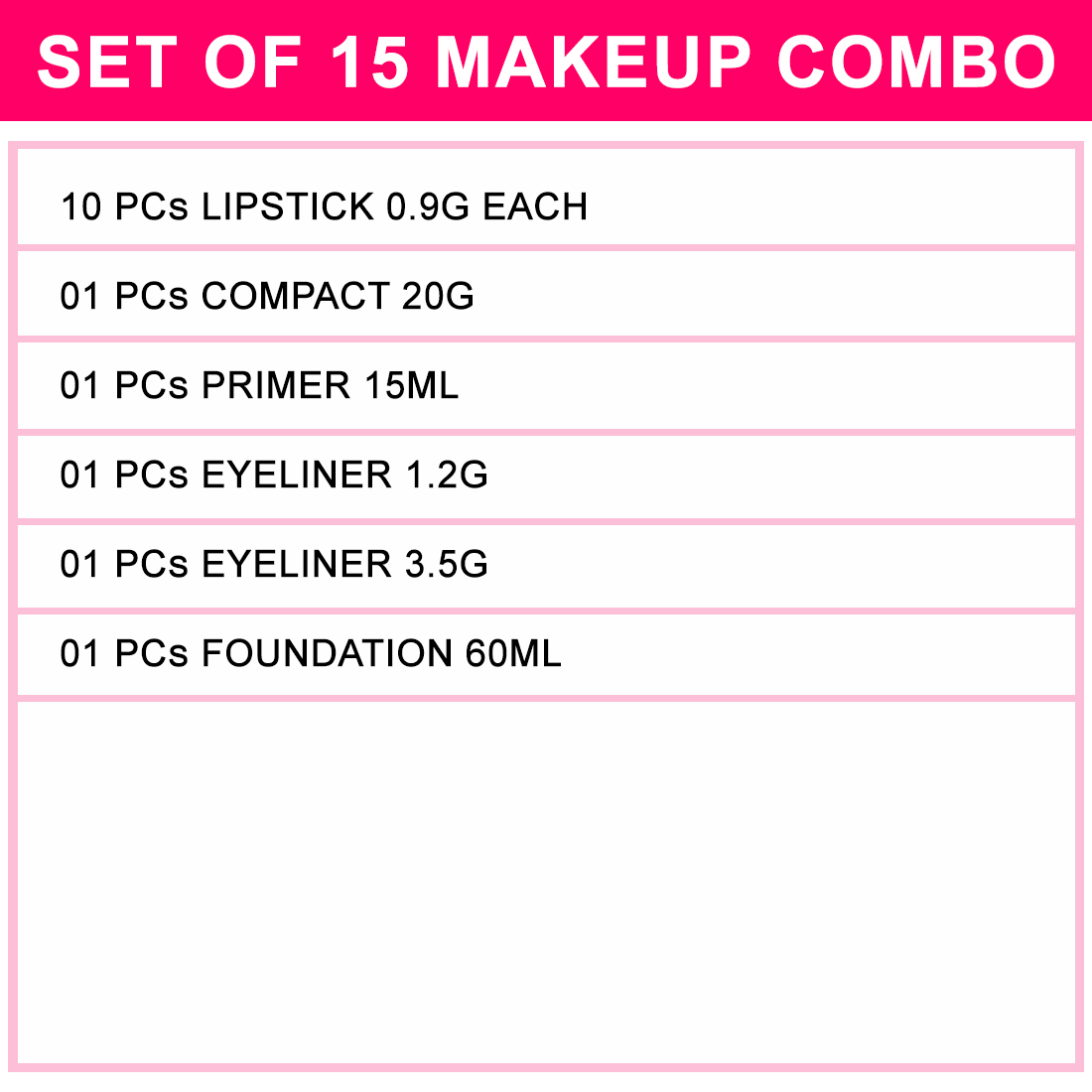 Adbeni Valuable Makeup Combo For All- Set of 15- GC 1075