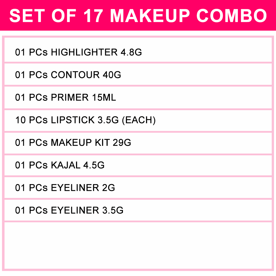 Adbeni All-in-one Budget Makeup Combo, Set of 17, GC1046