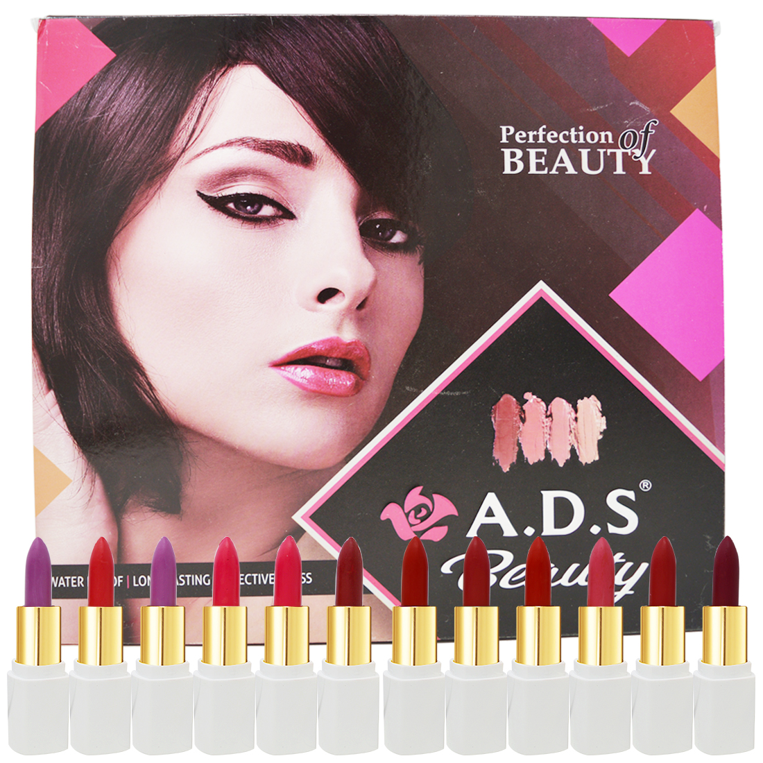 ADS Perfection Beauty Matte Lipstick, (A01740C), Multicolor, 4.5g Each, Pack of 12 With Lilium Hand Cleanser