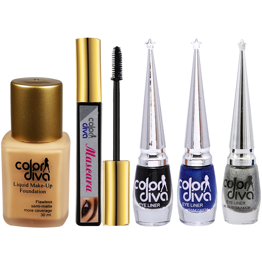 Adbeni Combo - Skin Diva Gold & Diamond Facial Kit With Color Diva Eyeliner, Mascar & Foundation, Pack of 7, (GC1441)
