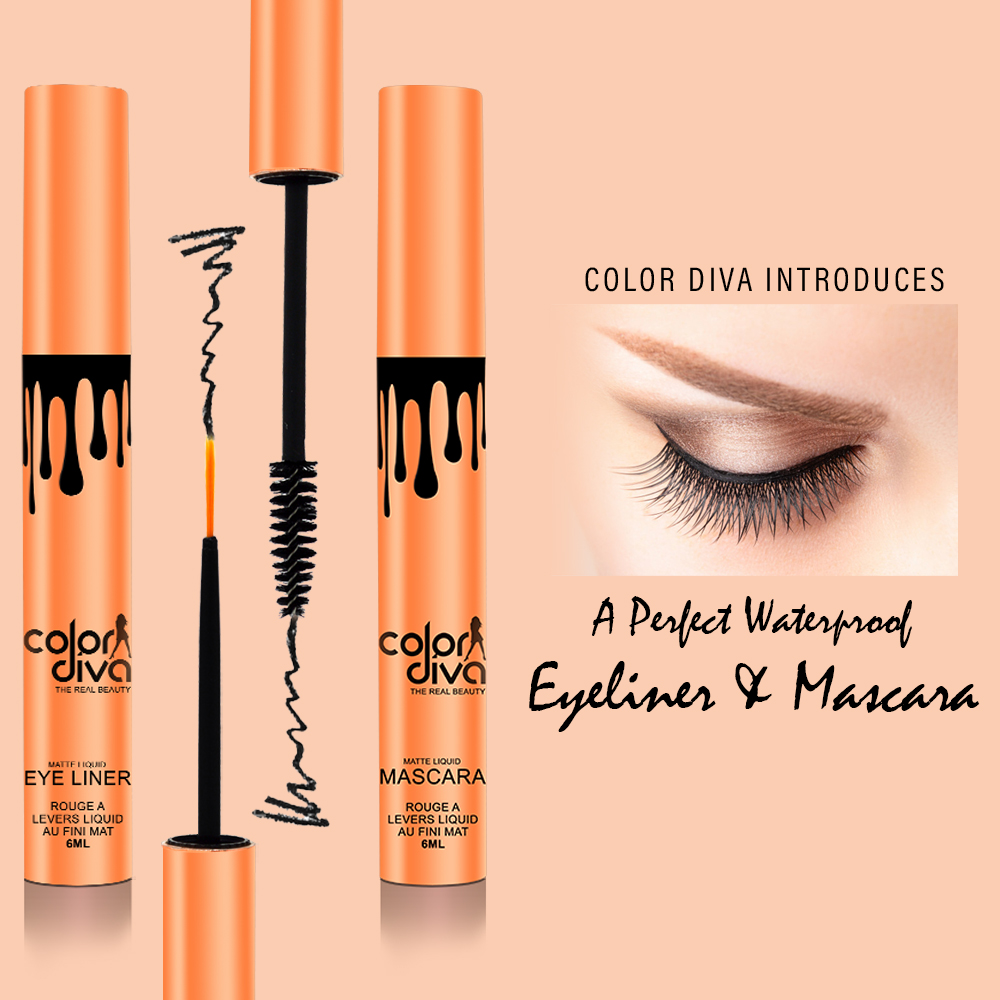 Color Diva Waterproof Eyeliner, Mascara, Sindoor & Liquid Lipstick, 6ml Pack of 4