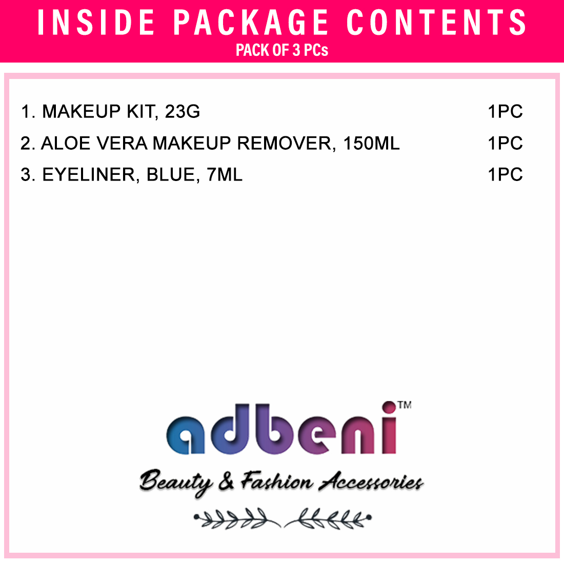Adbeni Aloevera Makeup Remover- Makeup KitBlue Eyeliner- Pack of 3- (GC878)