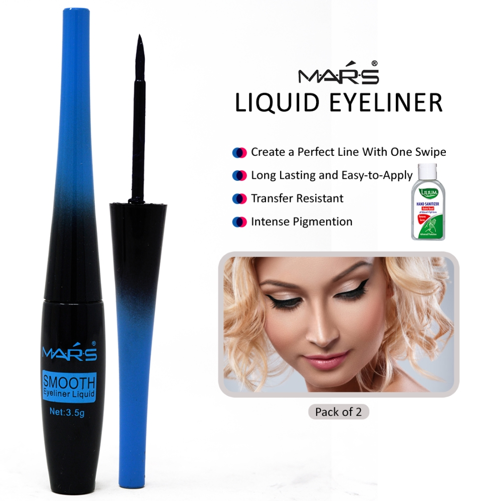 Mars Waterproof & Long Lasting Eyeliner-MK52167, Blue, 3.5g Pack of 2 With Lilium Hand Cleanser