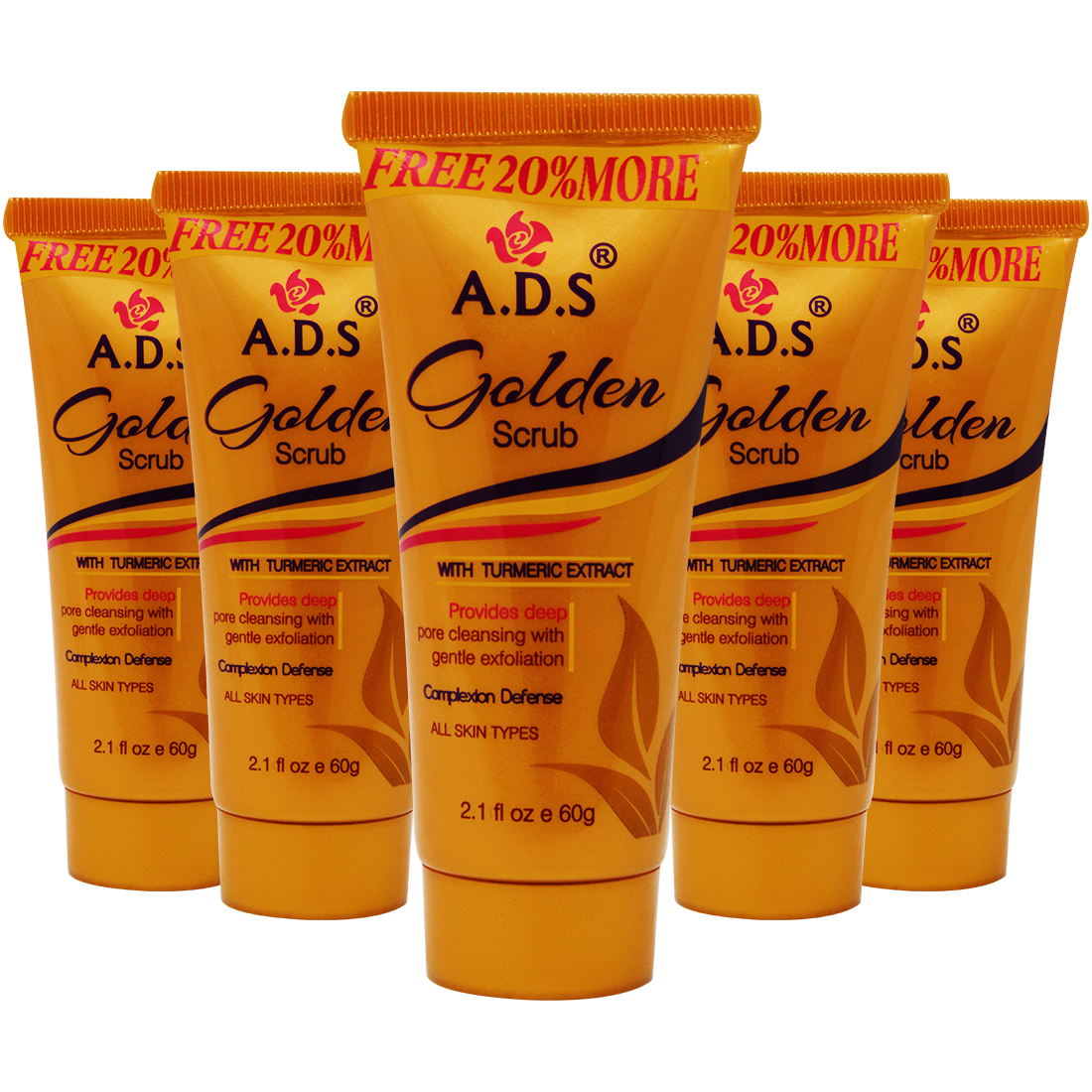 ADS Golden Facial Face Scrub, (A1546), 60g Pack of 5 With Lilium Hand Cleanser