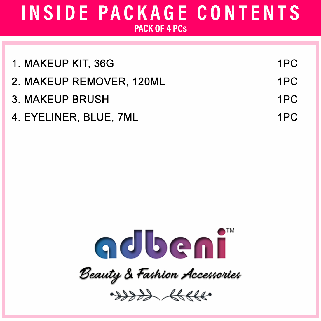 Adbeni Makeup Brush- Makeup Kit- Makeup RemoverBlue Eyeliner- Pack of 4- (GC879)