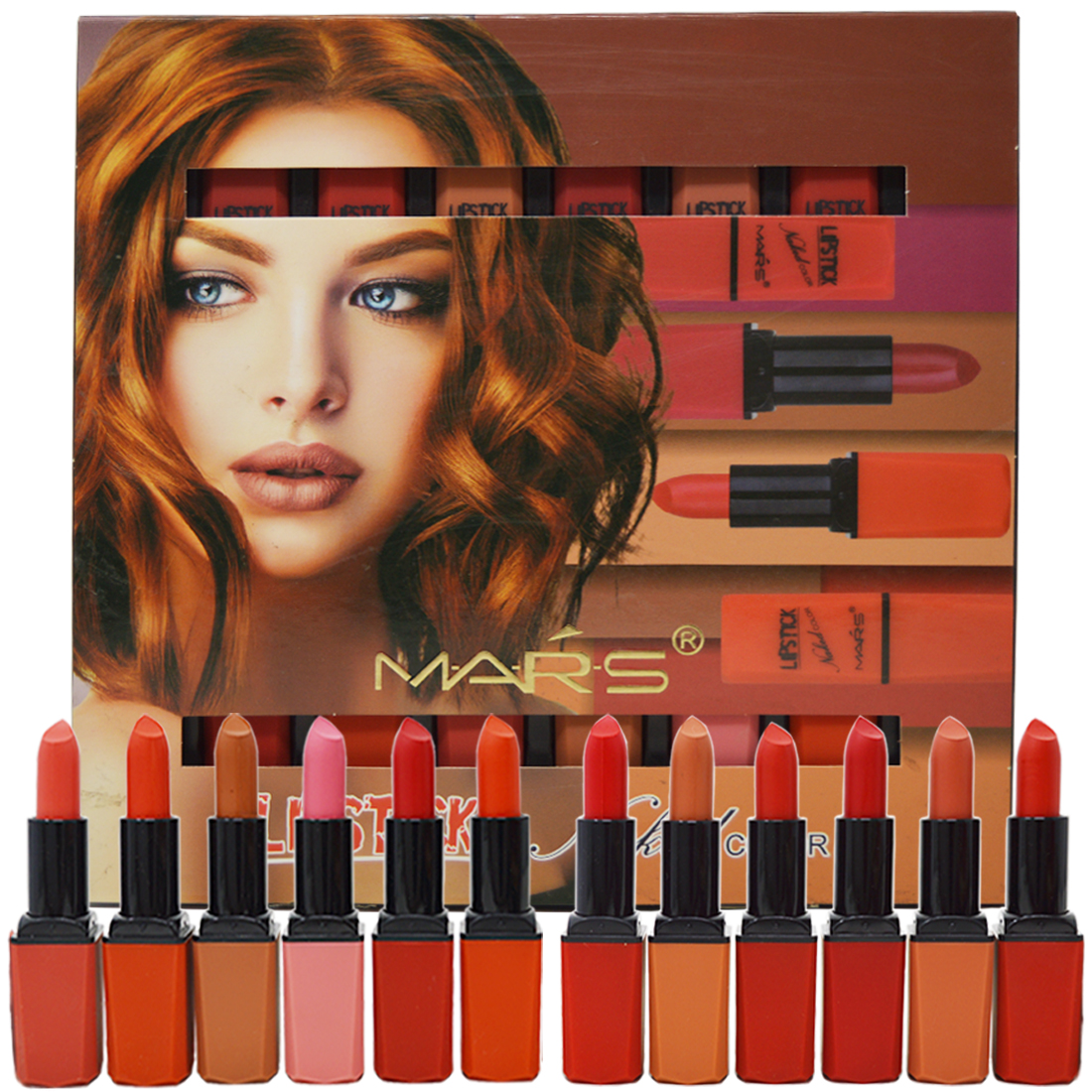 Mars Naked Color Matte Lipstick- (0683B)- Multicolor- 3.5g Each- Pack of 12 With Lilium Hand Cleanser