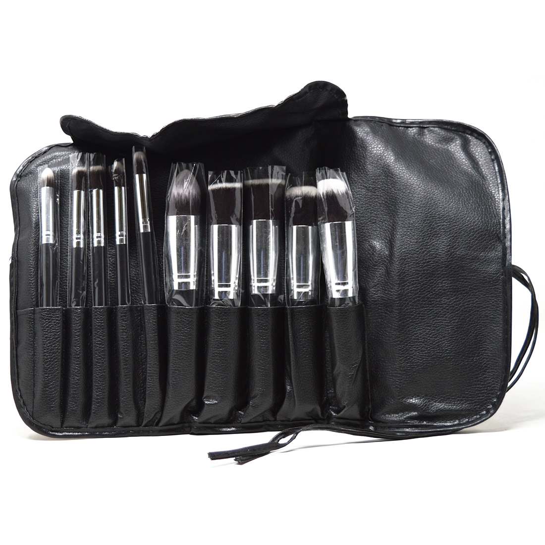 Mars Makeup Brush Set With Black Wallet, Set of 10 With Lilium Hand Cleanser