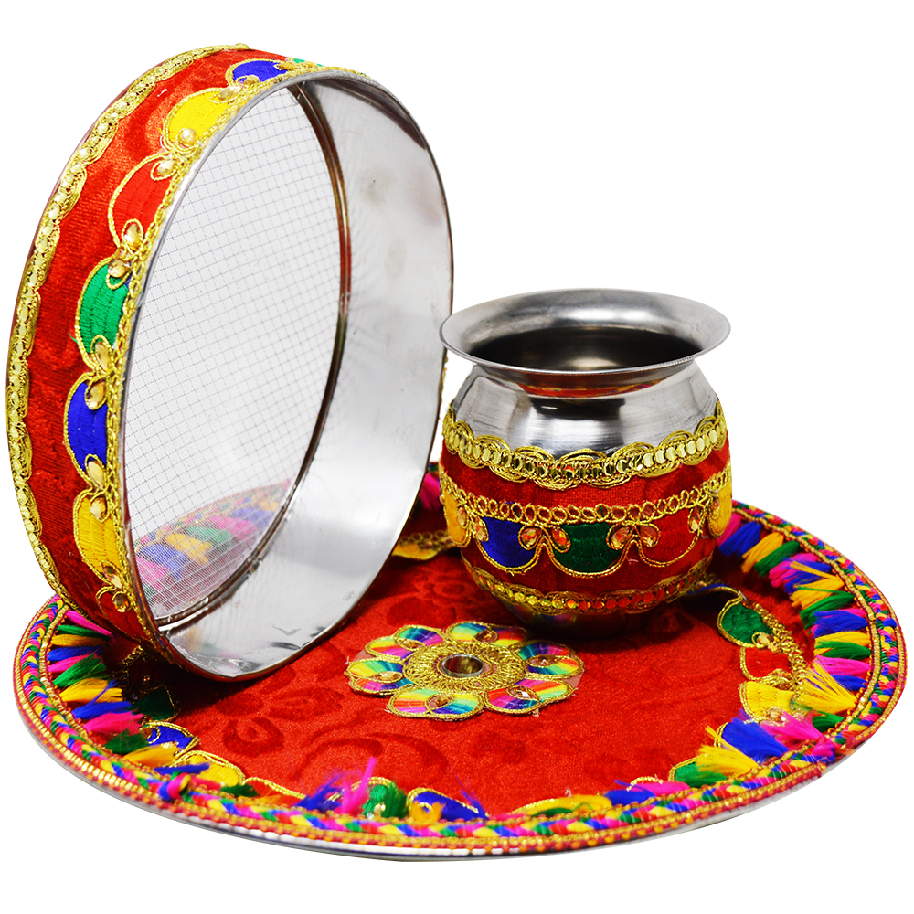 Adbeni Karwa Chauth Special Pooja Thali Set With Makeup Combo- Pack of 15- (GC1418)