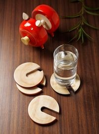 Dennmarks Wooden Hand-Painted Coffee Tea Coasters Set-Kitchen Decorative  Table Top Wooden Coaster Set (DNMK-CS-10180036)