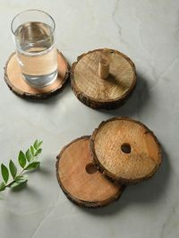DENNMARKS Wooden Multi Color Unique Alluring Hand-Painted Coasters For Kitchen assests Like For Glass / Cups / Mugs / Bowls (DNMK-CS-30190002)