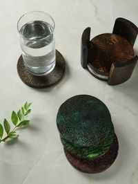 DENNMARKS Wooden Multi Color Unique Alluring Hand-Painted Coasters For Kitchen assests Like For Glass / Cups / Mugs / Bowls (DNMK-CS-30190003)