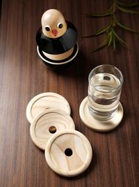 Dennmarks Wooden Hand-Painted Coffee Tea Coasters Set-Kitchen Decorative  Table Top Wooden Coaster Set (DNMK-CS-10180030)