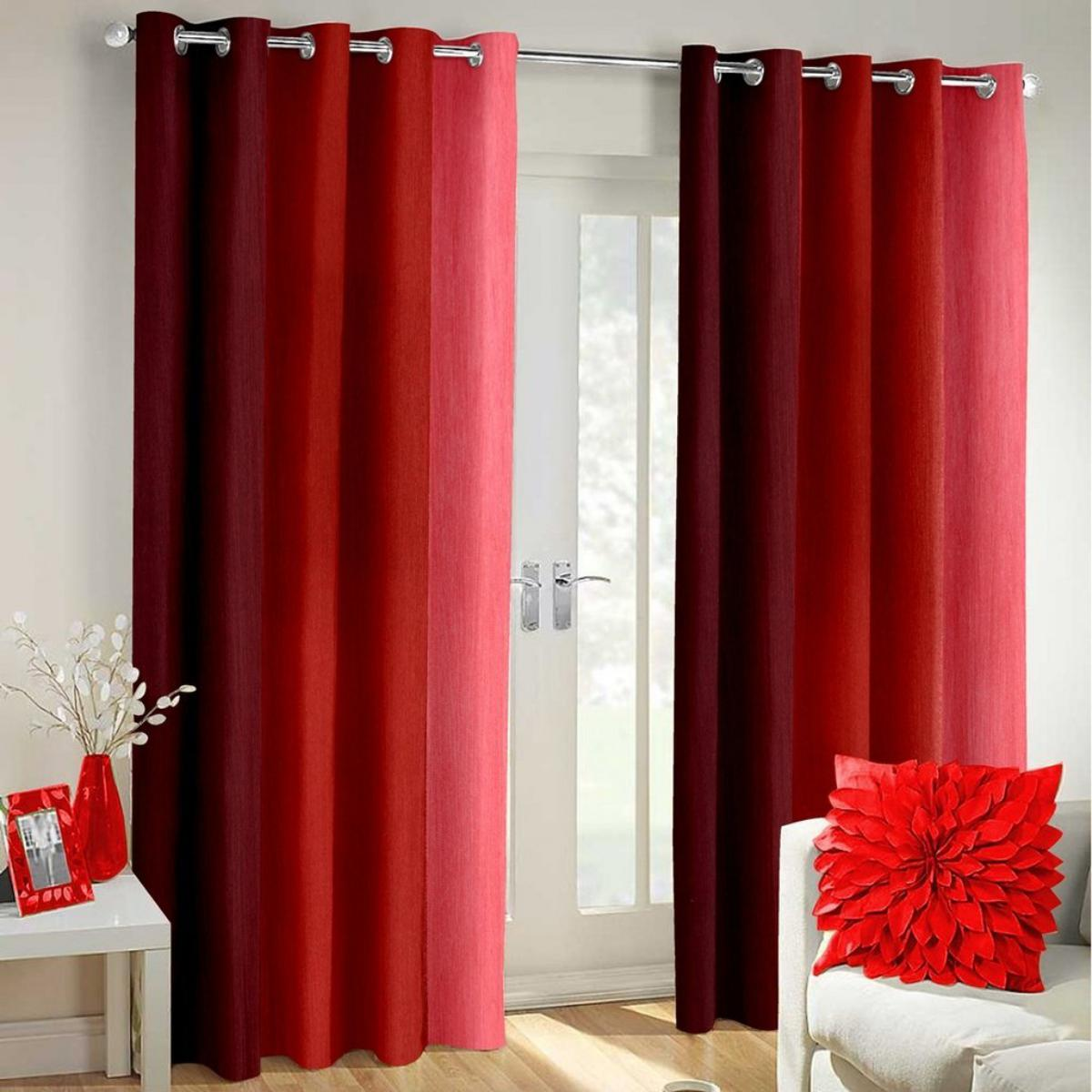 IndianOnlineMall shaded set of 2 long crush curtain(4x5ft)