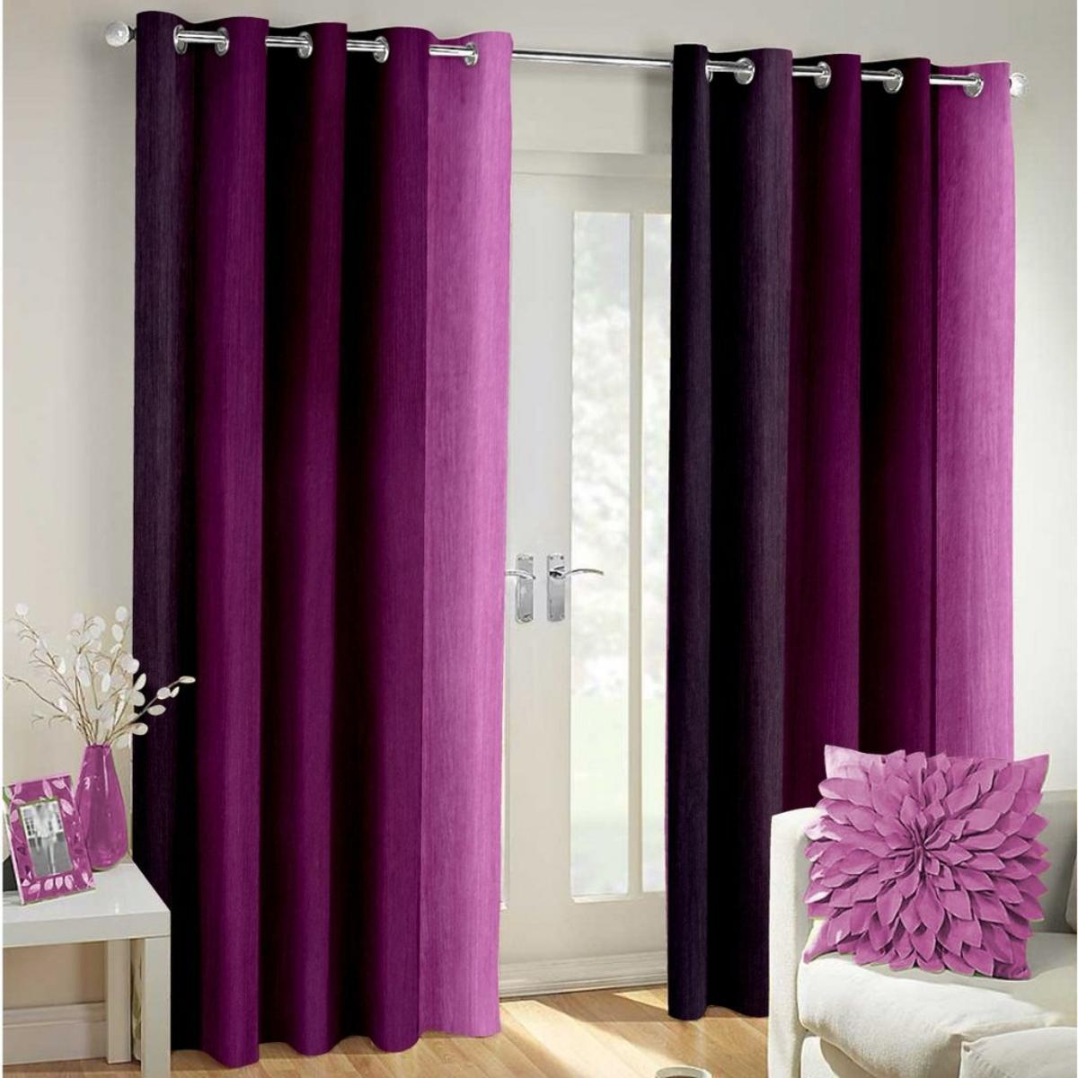 IndianOnlineMall shaded set of 2 long crush curtain(4x7ft)