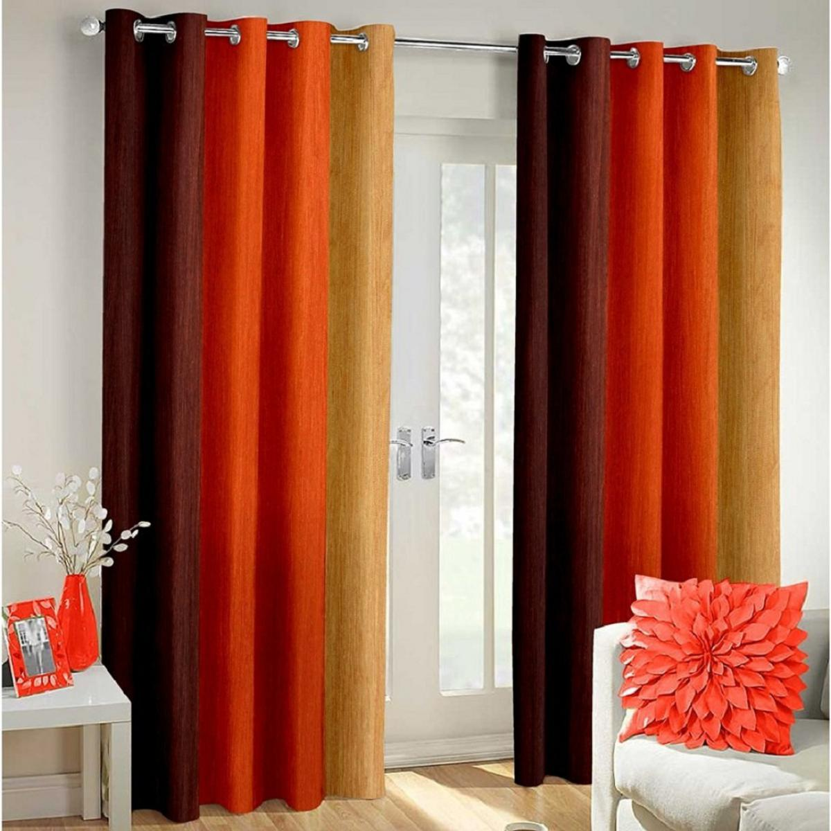 IndianOnlineMall shaded set of 2 long crush curtain(4x9ft)
