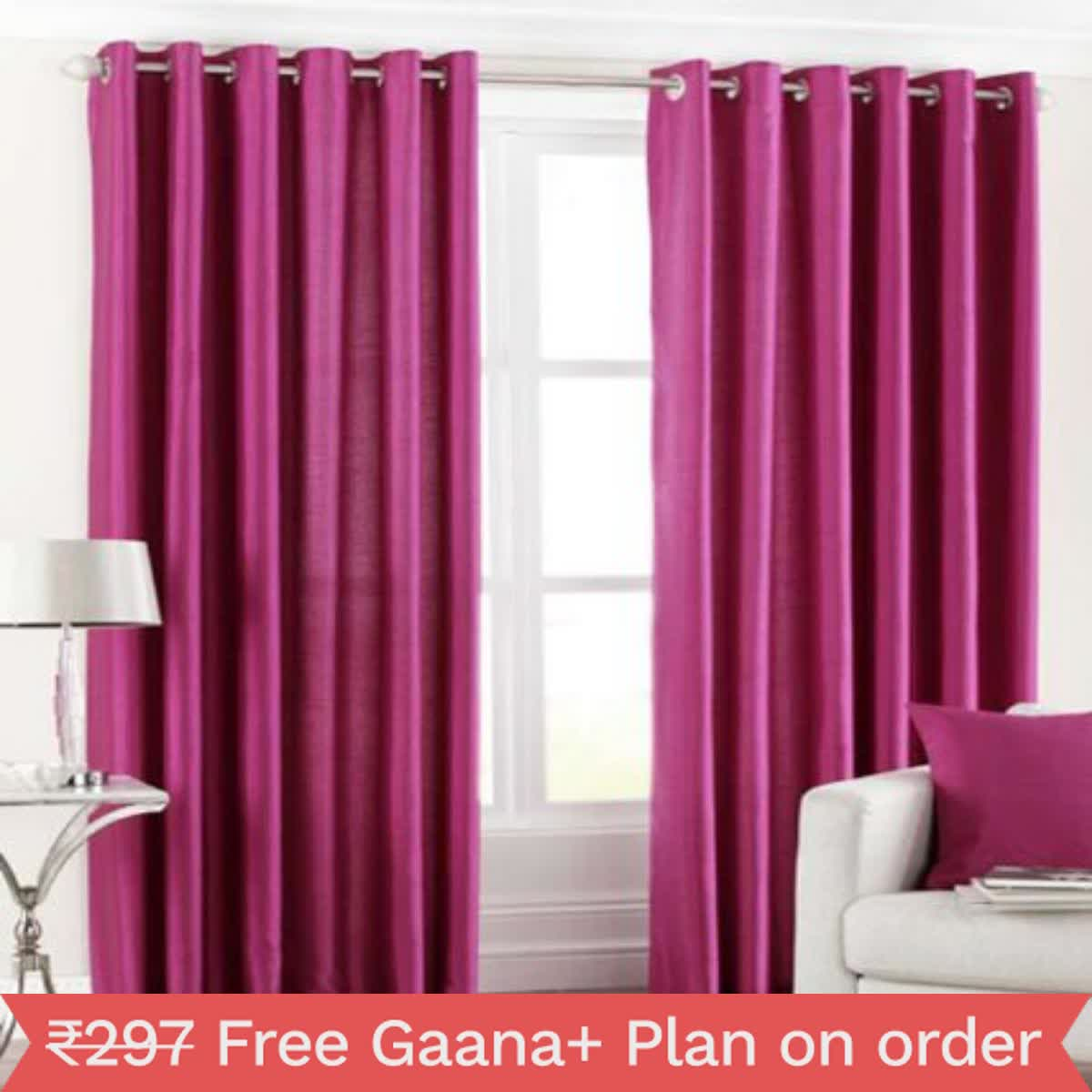IndianOnlineMall Plain Single crush curtain(4x5ft)
