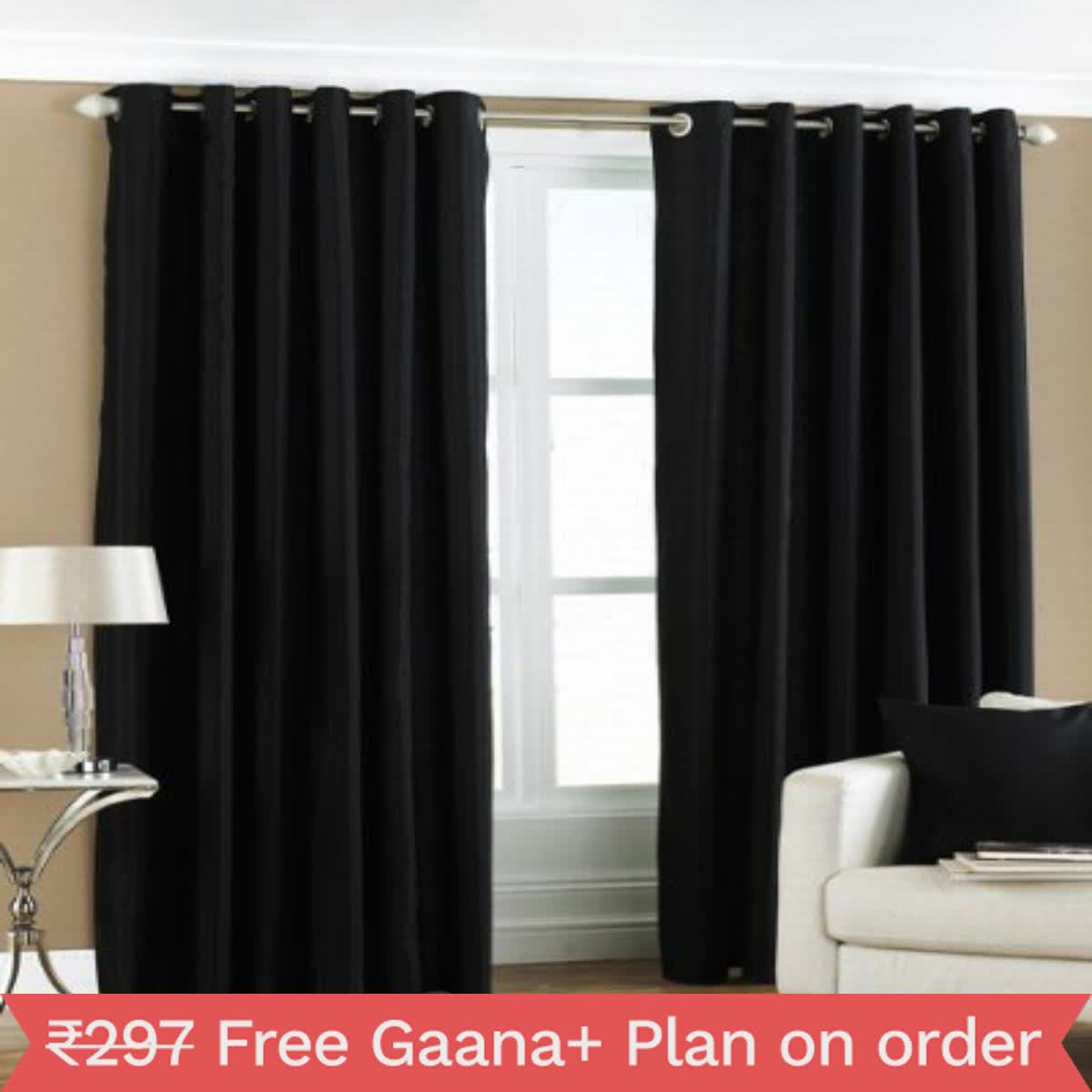 IndianOnlineMall Plain set of 2 crush curtain(4x7ft)