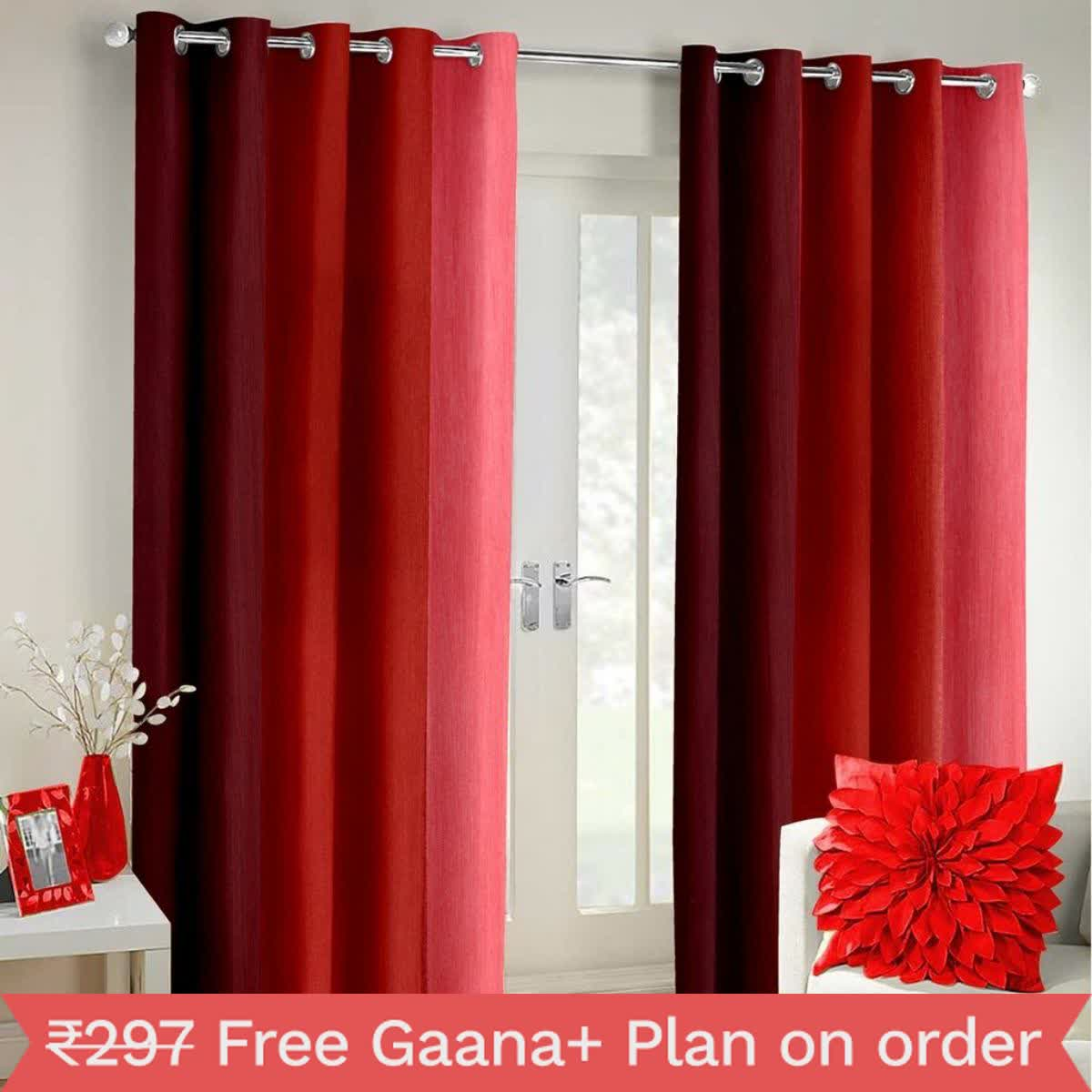 IndianOnlineMall shaded Single long crush curtain(4x7ft)