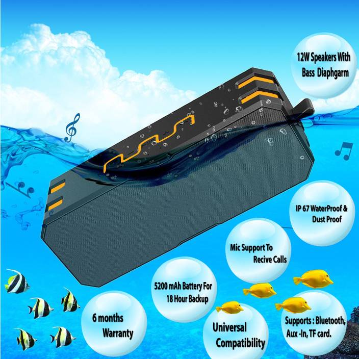 Jango F4 Waterproof Bluetooth Sound-Rock With 16 Hour Backup(Supports Bluetooth,Aux,TF Card) Portable Bluetooth Speaker  (Yellow, Stereo Channel)