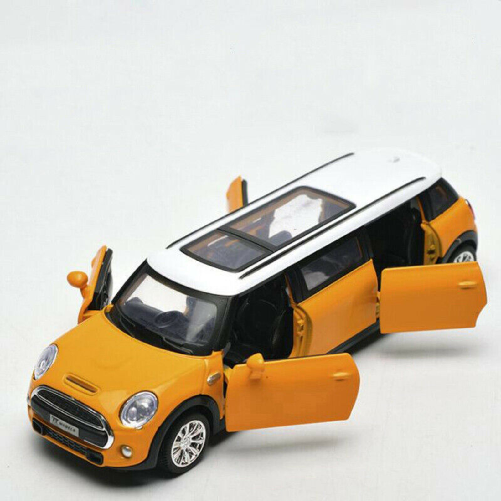 Limousine Metal Car|Die Cast Pull Back Action Mini Cooper Extended Limousine Car Diecast Toy Vehicle Car Model | Perfect Toy Set for Kids- Yellow
