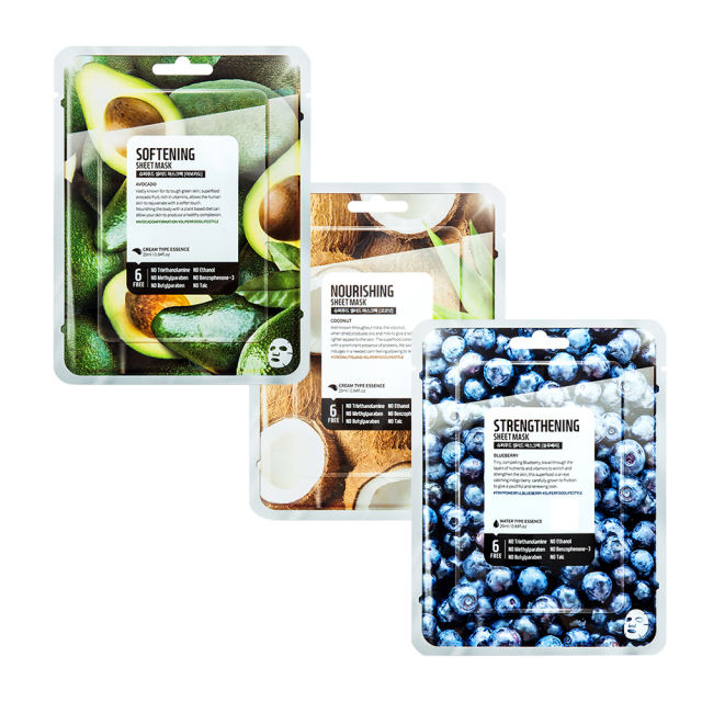 Farmskin Mask Sheet - Combo Pack Of 3 (Avocado, Coconut, Blueberries)